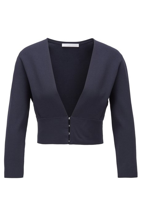 Slim-fit jacket with V neckline and hook closures, Dark Blue