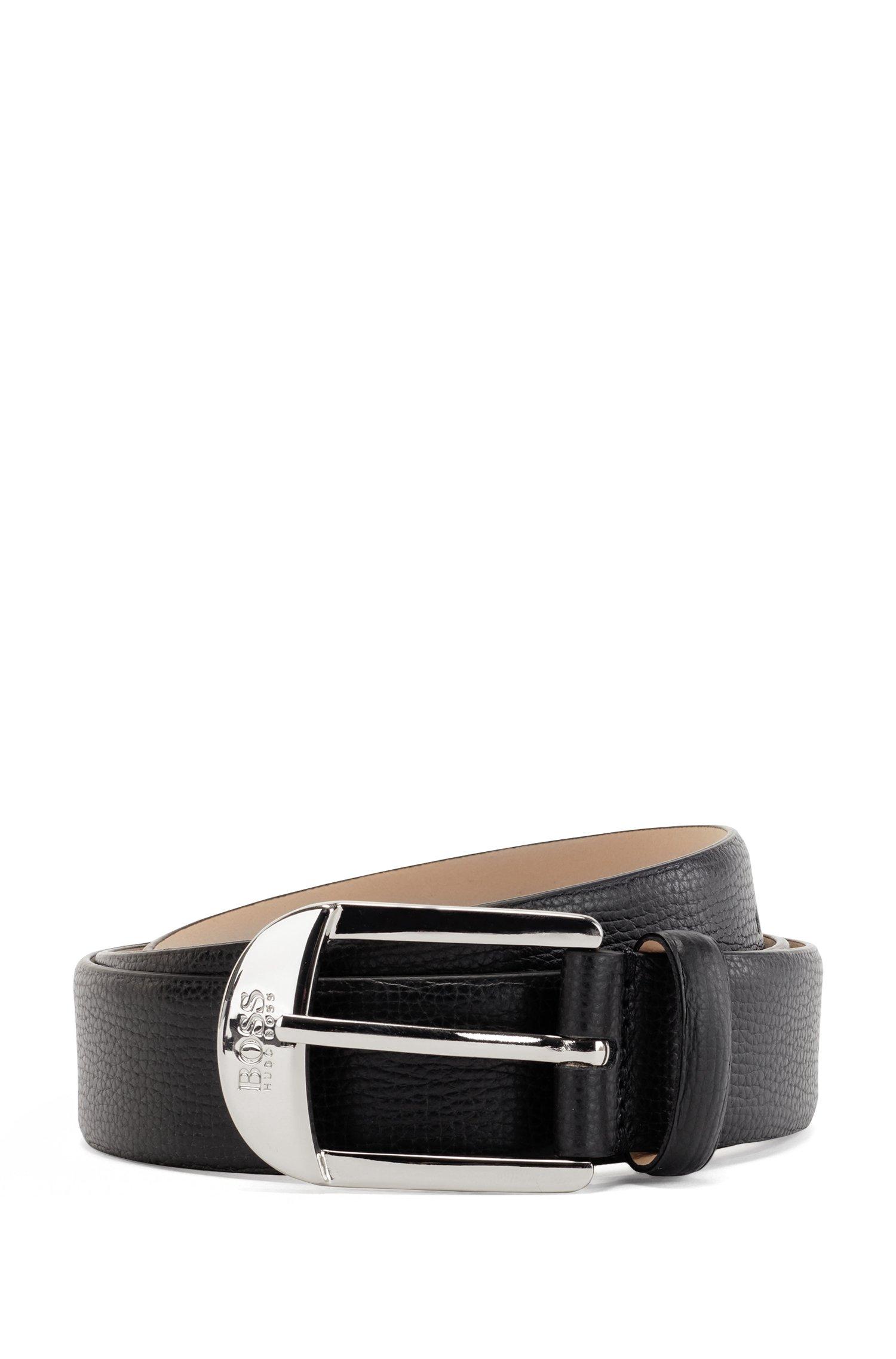 Pin-buckle belt in grained Italian leather, Black