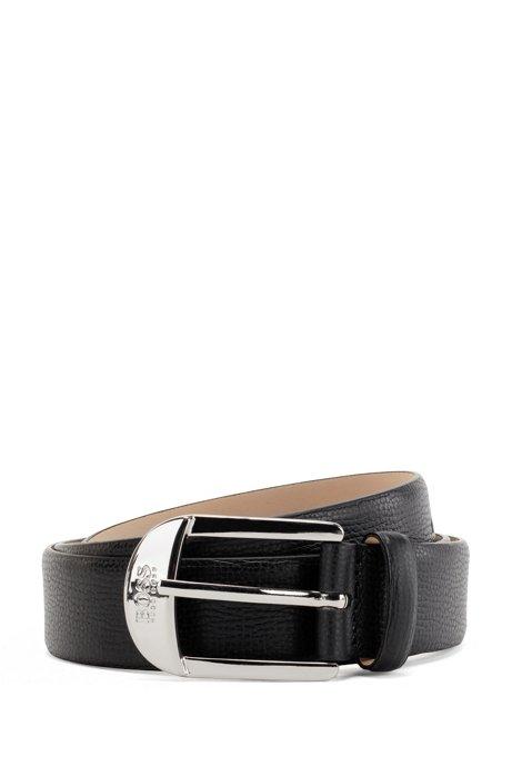 Gürtel aus genarbtem italienischem Leder mit Dornschließe, Schwarz