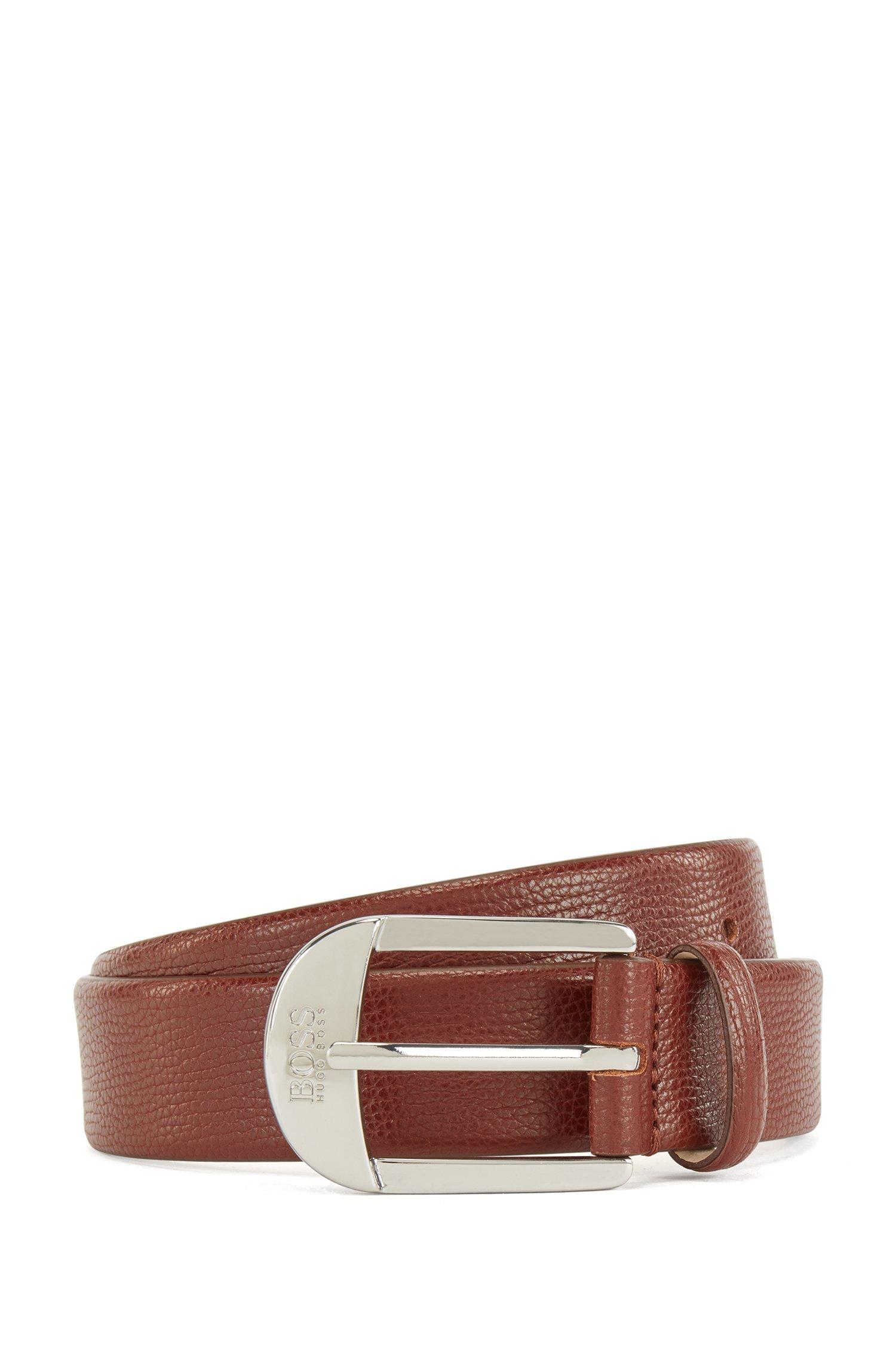 Pin-buckle belt in grained Italian leather, Brown