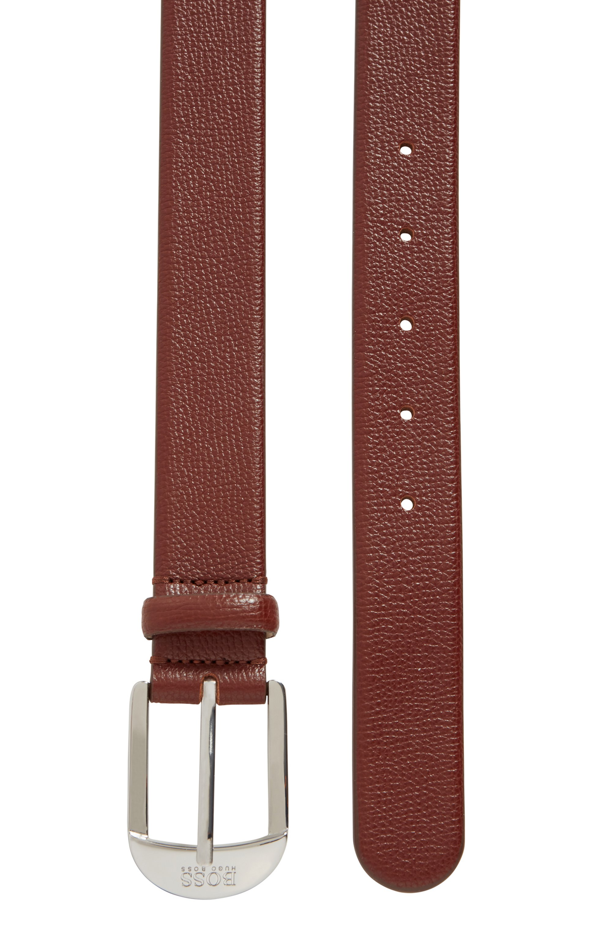 Pin-buckle belt in grained Italian leather
