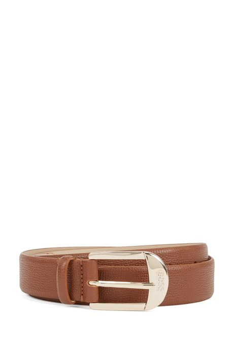 Pin-buckle belt in grained Italian leather, Light Brown