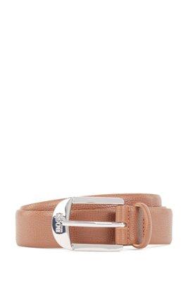 Pin-buckle belt in grained Italian leather, Light Brown
