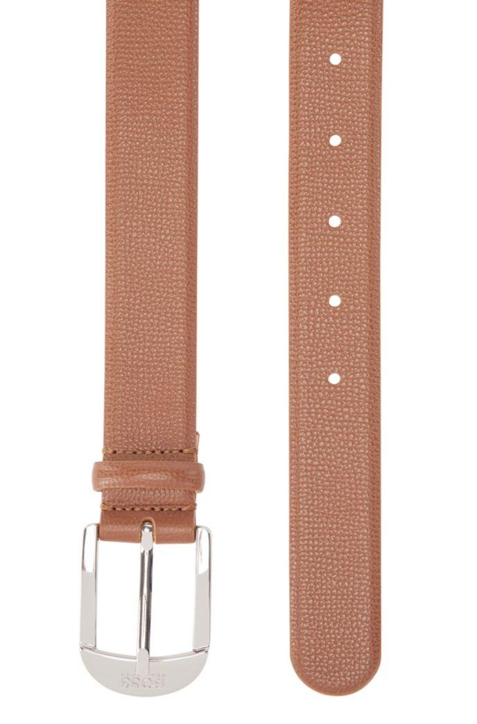 Pin-buckle belt in grained Italian leather