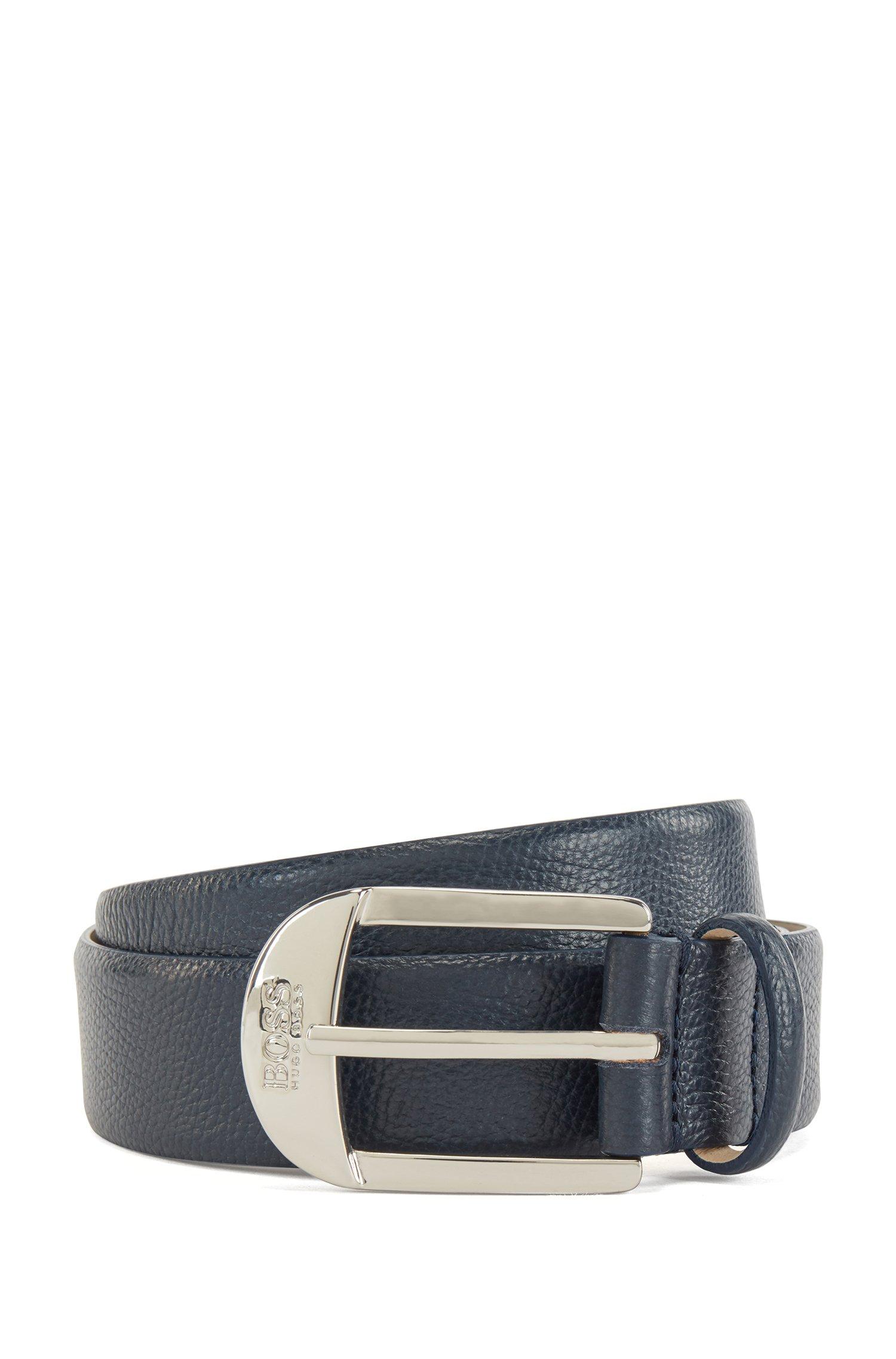 Pin-buckle belt in grained Italian leather, Dark Blue