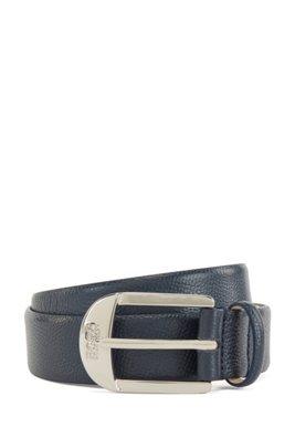 Cinturón de hebilla con hebijón en piel granulada italiana, Azul oscuro