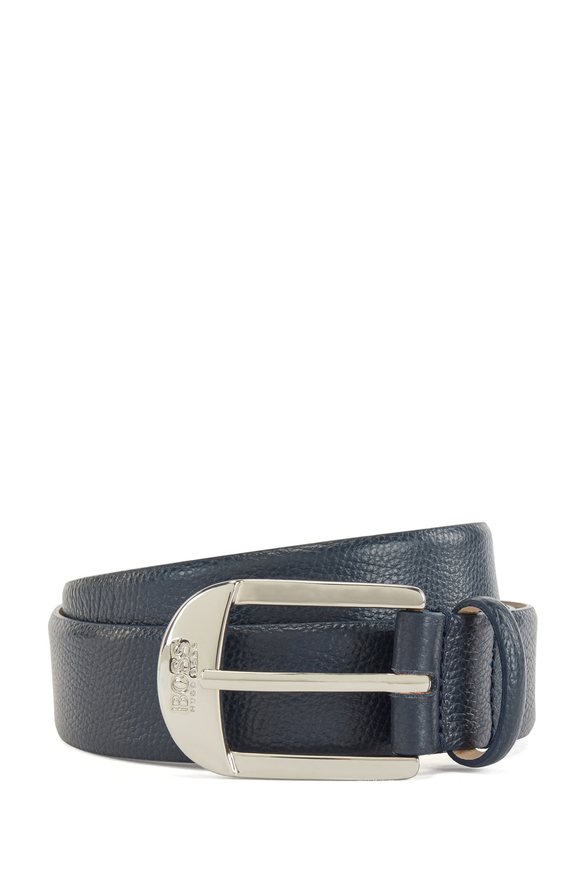 Pin-buckle belt in grained Italian leather, Dark Blue