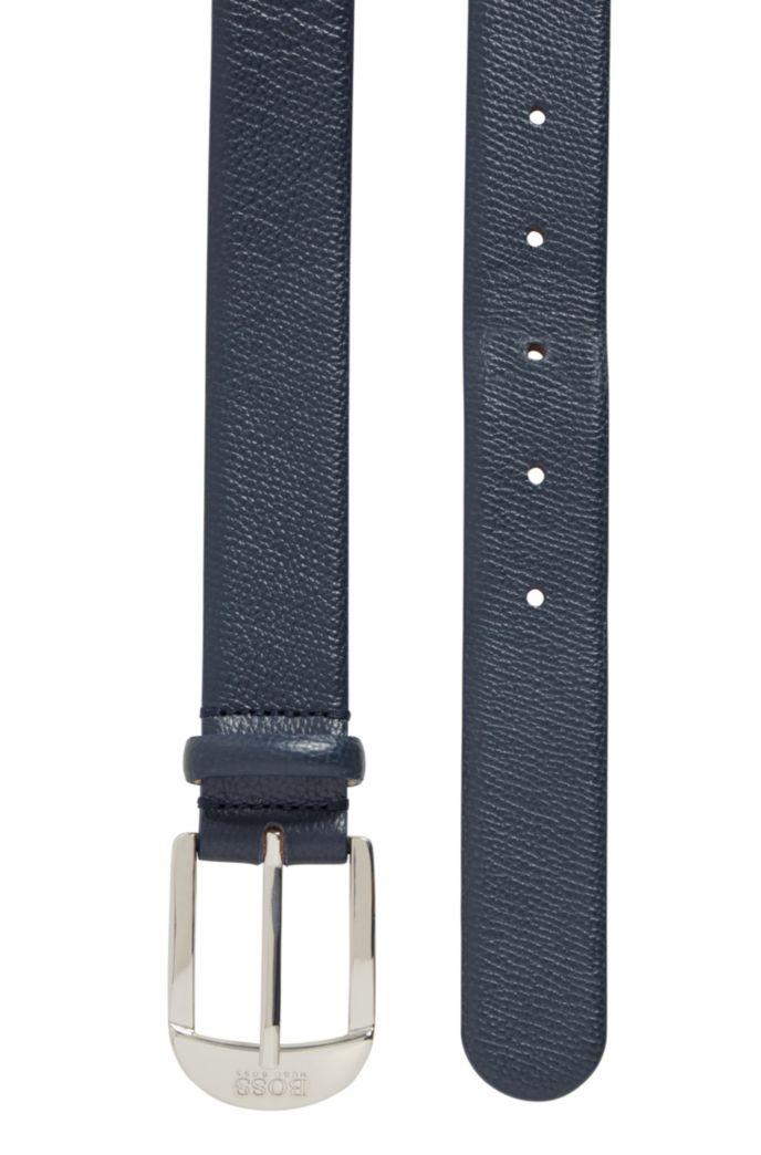 Cinturón de hebilla con hebijón en piel granulada italiana