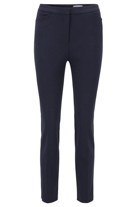 Slim-fit trousers in a stretch-cotton blend, Open Blue