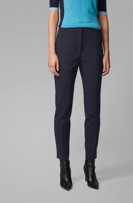Slim-fit trousers in a stretch-cotton blend, Light Blue