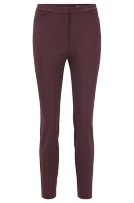 Slim-fit trousers in a stretch-cotton blend, Dark Red