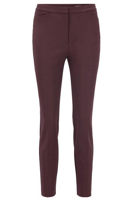 Pantalones slim fit en mezcla de algodón elástico, Rojo oscuro