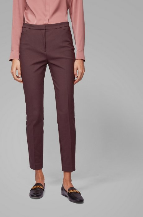 Pantalon Slim Fit en coton stretch mélangé, Rouge sombre