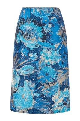 Midi-length A-line skirt in Italian floral jacquard, パターン