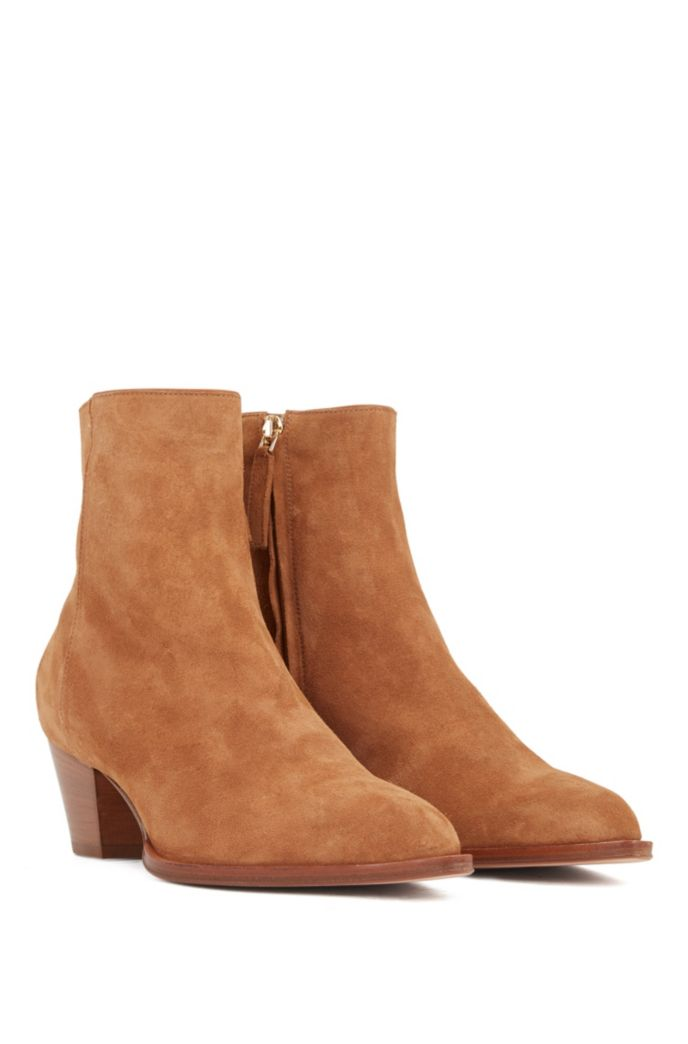 Italian-suede ankle boots with block heel