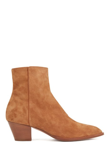 Italian-suede ankle boots with block heel, Light Brown