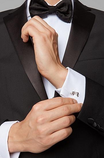 抛光黄铜狮形袖扣,  040_银灰色