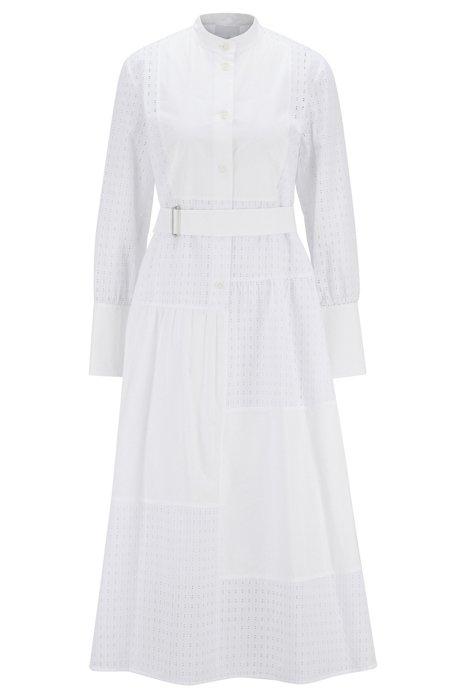 Robe-chemise en coton à empiècements monogramme patchwork, Blanc