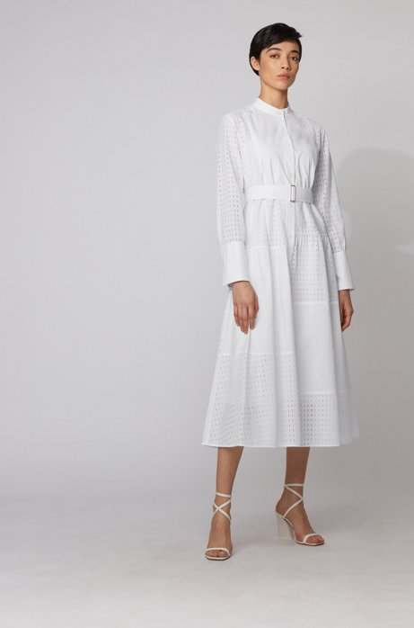 Shirt dress in cotton with patchworked monogram panels, White