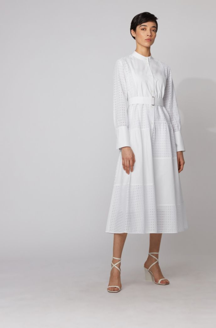 Shirt dress in cotton with patchworked monogram panels