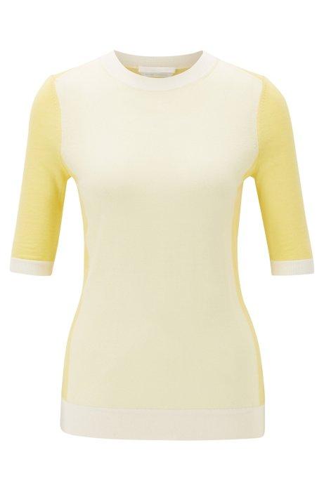 Pullover aus Schurwolle mit Rundhalsausschnitt, Gelb