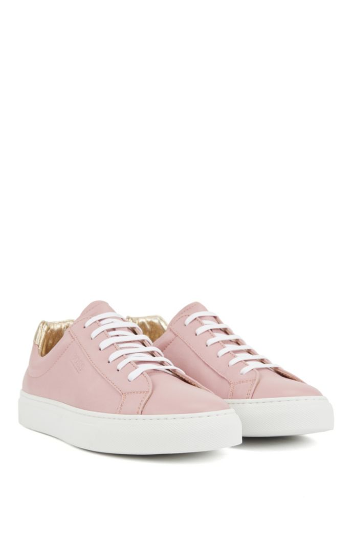 Low-top trainers in Italian leather with logo