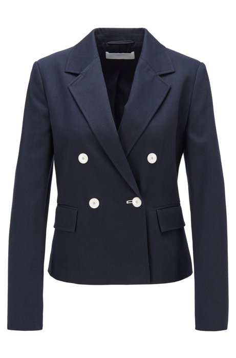 Regular-fit jacket in structured stretch cotton, Dark Blue