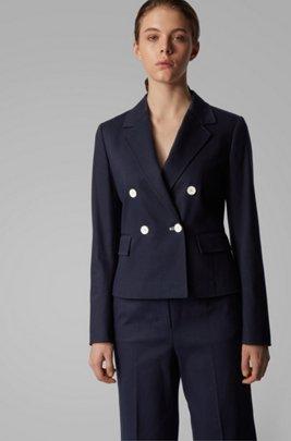 Regular-fit jacket in structured stretch cotton, Dark Blue