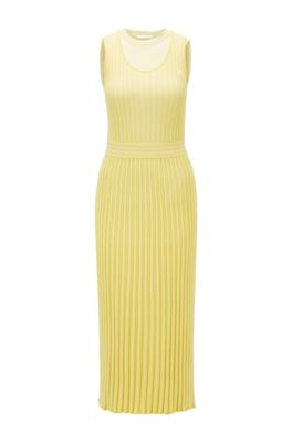 Sleeveless knitted dress with detachable underlayer, Yellow