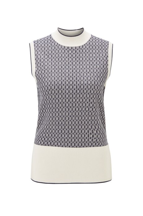 Slim-fit top in cotton blend with monogram detailing, Patterned