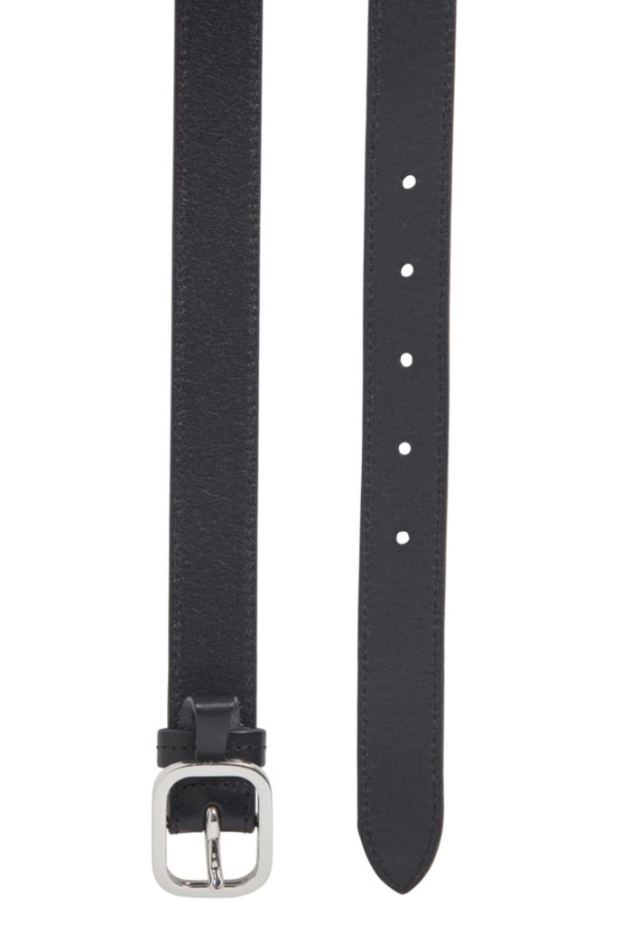Italian-leather belt with oval buckle
