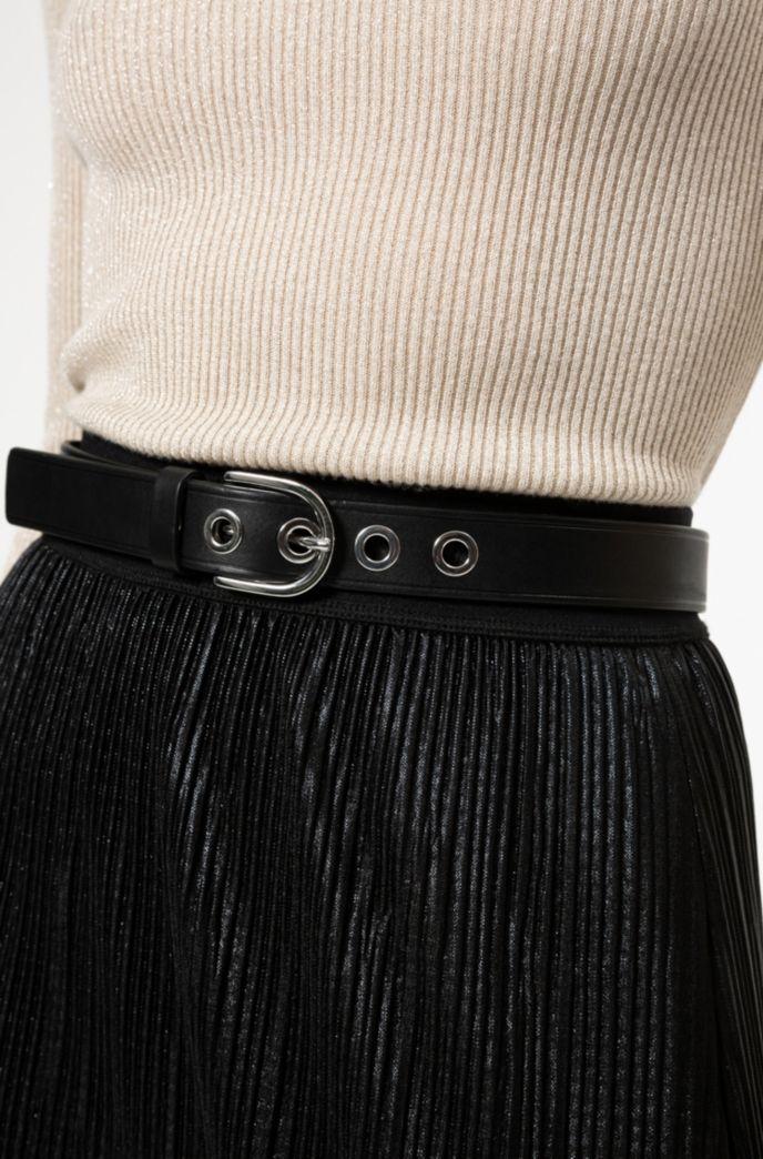 Gürtel aus italienischem Leder mit Metall-Ösen und abgerundeter Schließe