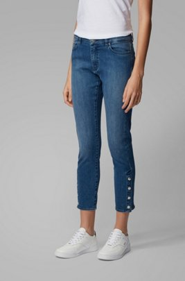 Slim-fit jeans in red-cast stretch denim, Blue