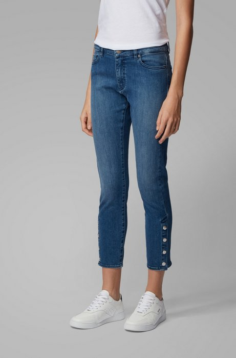 Jean Slim Fit en denim stretch red cast, Bleu