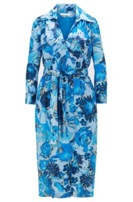 Hemdblusenkleid aus reiner Seide mit Blumenprint und Monogramm-Motiv, Gemustert