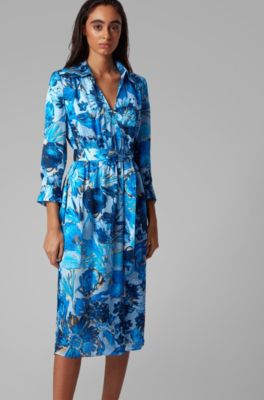 Boss Monogram Shirt Dress In Pure Silk With Floral Print