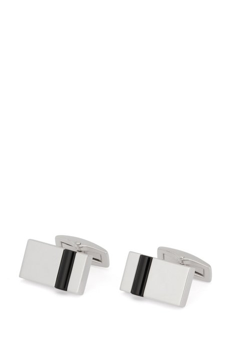 Rectangular cufflinks with black onyx panel, Black