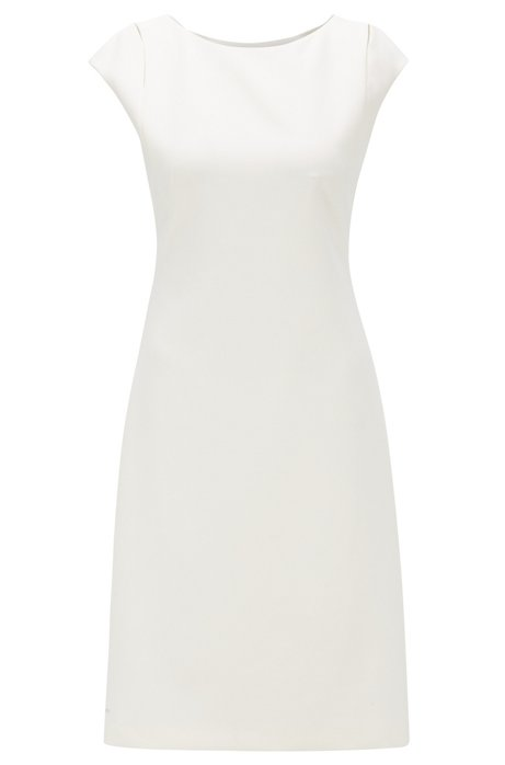 Shift dress in double-faced stretch fabric, Natural