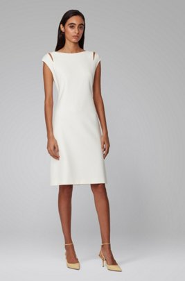 Shift dress in double-faced stretch fabric, White