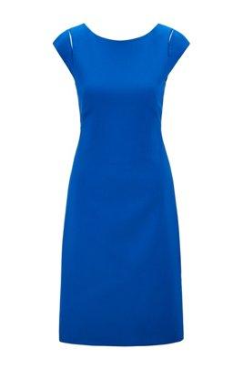 Cap-sleeve shift dress in Portuguese stretch fabric, Light Blue