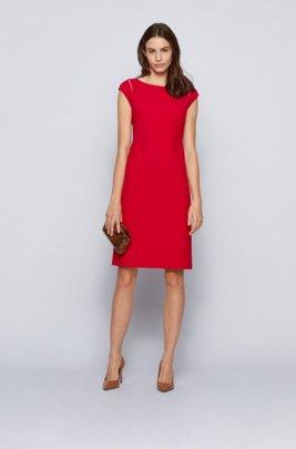 Cap-sleeve shift dress in Portuguese stretch fabric, Red