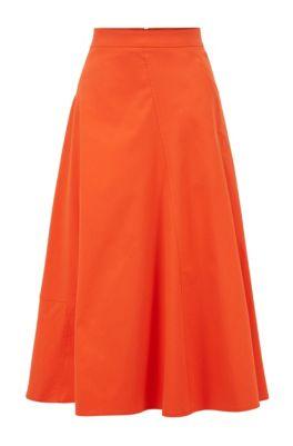 Midirock in A-Linie aus elastischem Baumwoll-Mix, Orange