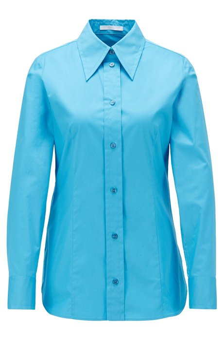 Regular-fit blouse in paper-touch stretch cotton, Turquoise