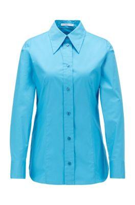 Regular-Fit Bluse aus Stretch-Baumwolle mit Paper-Touch-Effekt, Türkis
