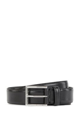 Burnished-leather belt with stitching detail, Black