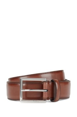 Burnished-leather belt with stitching detail, Brown