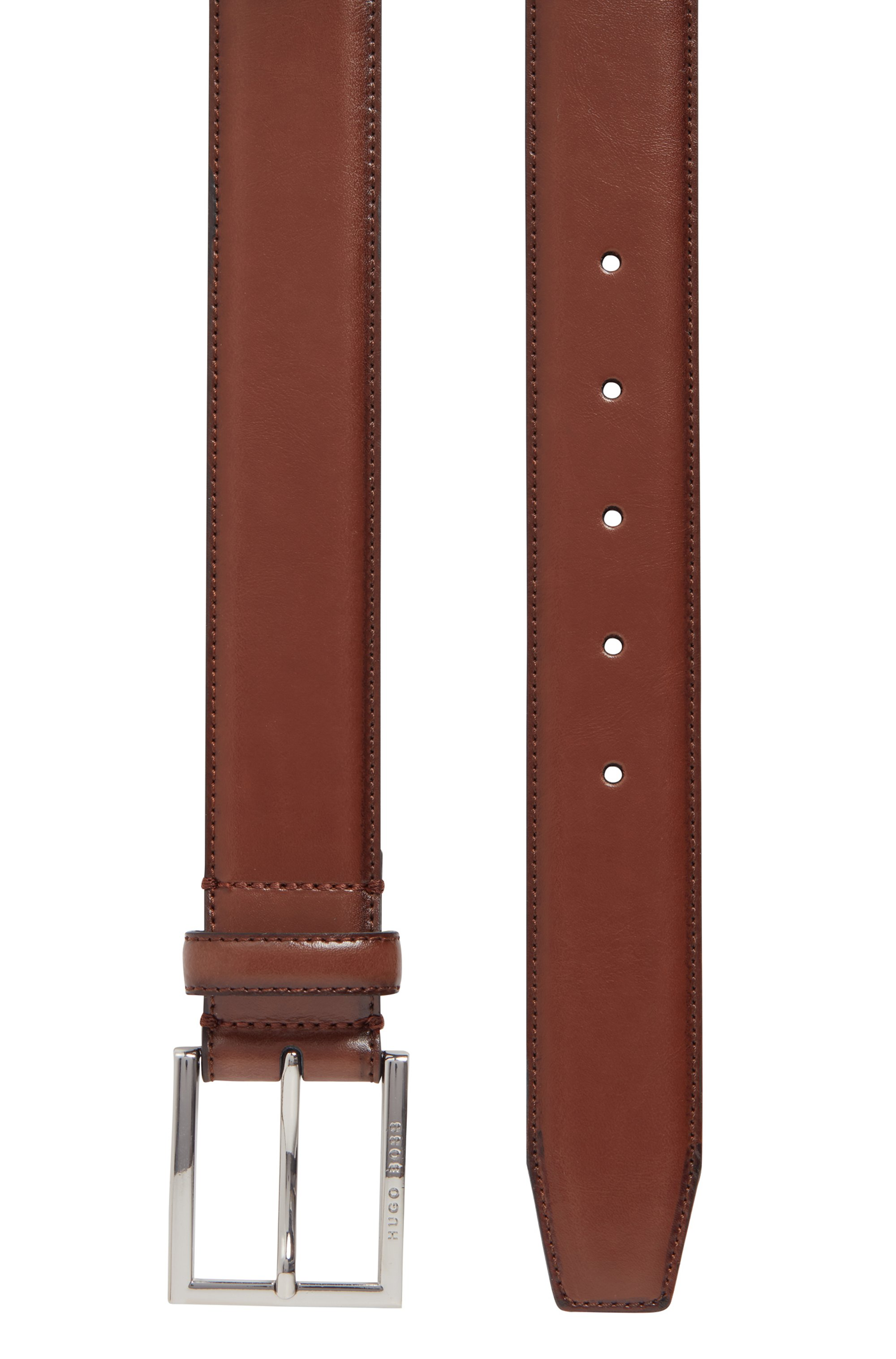 Burnished-leather belt with stitching detail