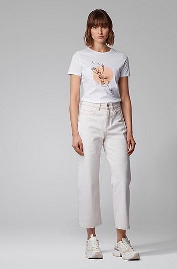 本色牛仔布可完全回收阔腿牛仔裤,  152_淡白色