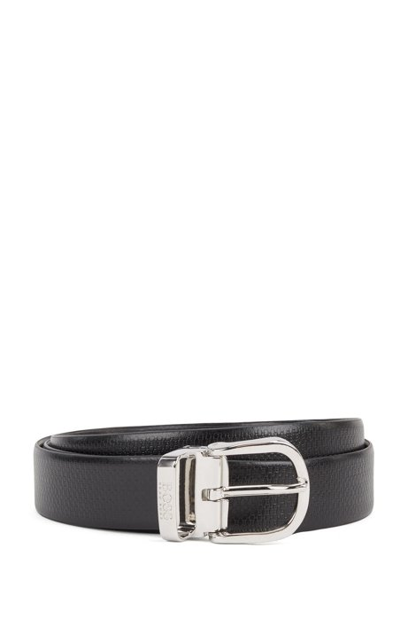 Reversible belt in Italian leather with monogram detail, Black
