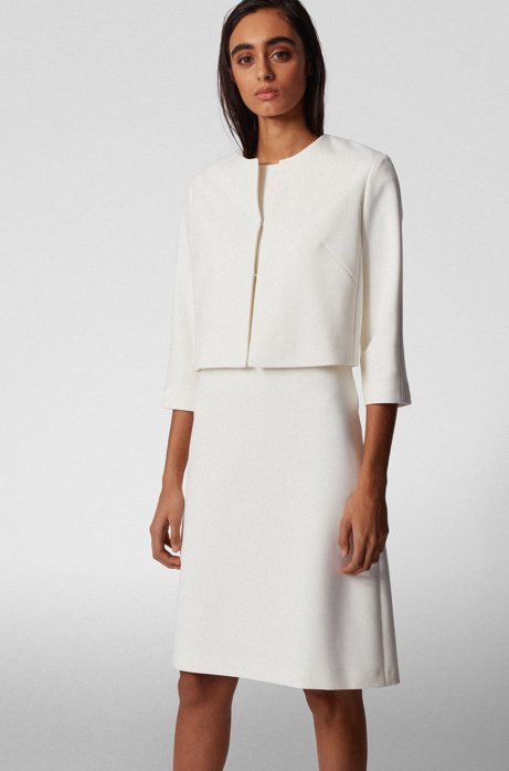 Regular-fit jacket in double-faced stretch fabric, White